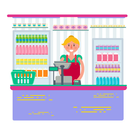 supermarket checkout: Pretty female working as cashier in shop or supermarket. Woman retail seller at checkout in store. Vector illustration design isolated on white background.