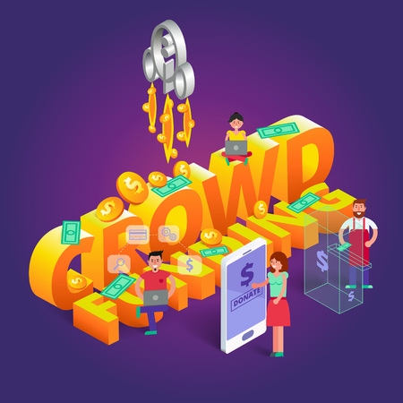 endow: Crowdfunding vector illustration. Charity concept with people that subscribe or donate money for startup project using various gadgets. Contribution image in isometric view Illustration