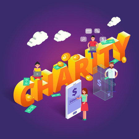 Charity vector illustration. Crowdfunding concept with people that subscribe or donate money for startup project using various gadgets. Contribution image in isometric view