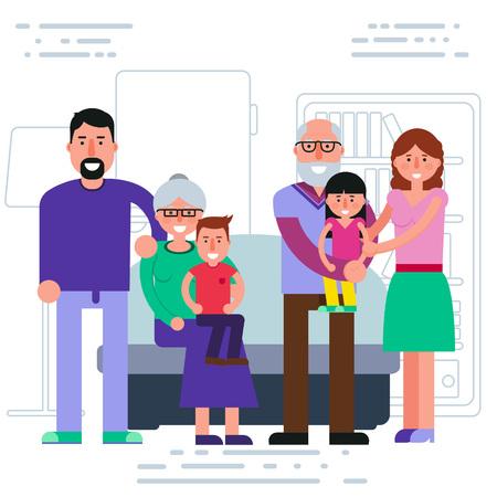 gaffer: Happy big family - parents, grandparents, grandchildren portrait. Smiling father, mother, grandma, grandpa, grandson and granddaughter. Vector illustration