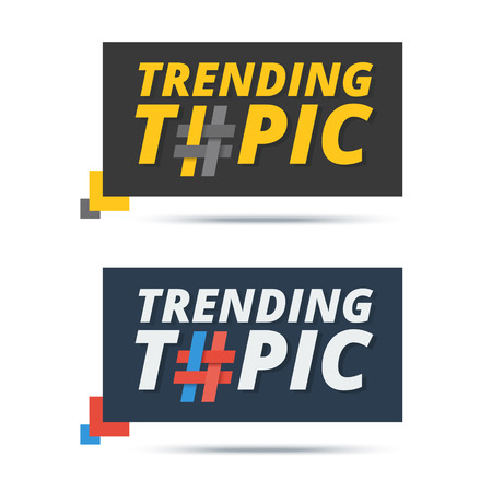 mentioned: Trending topic banner with hashtag sign. Vector web icon design for popular word or phrase mentioned by users in social media.