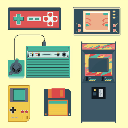 20th: Set of geek gaming retro gadgets from the nineties. Old game entertainment devices of the 90s. Electronics from the 20th century Illustration