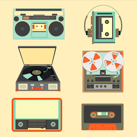 nineties: Set of retro music gadgets from 21-st century. Old musical devices vector illustration. Tape stereo system, audio cassette, reel-to-reel recorder, player, radio, gramophone Illustration