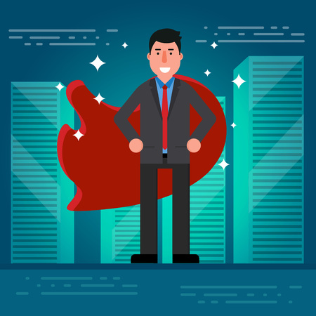 broker: Successful businessman or broker in suit and red cape on city roof background. Vector illustration of superhero as concept of business success. Leadership symbol