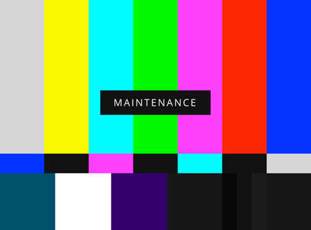 ntsc: SMPTE color bars vector illustration. Analog and NTSC standard tv test screen. Television maintenance pattern components Illustration