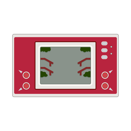 20th: Vector game and watch icon illustration. Geek gaming retro gadget from the nineties. Old game entertainment device of the 90s. Electronics from the 20th century