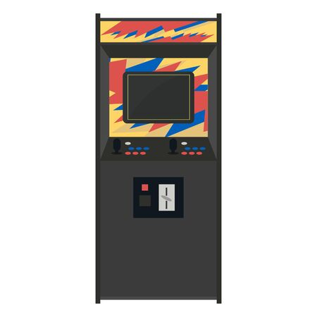nineties: Arcade machine vector illustration. Geek gaming retro gadgets from the nineties. Old game entertainment devices of the 90s. Coin-op from the 20th century