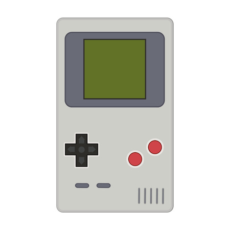 nineties: Gamepad vector illustration. Geek gaming retro gadgets from the nineties. Old game entertainment devices of the 90s. Electronics from the 20th century