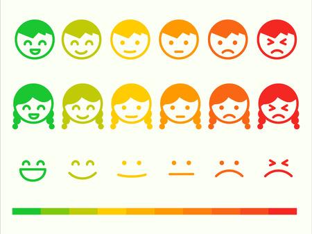 tarifa de la regeneración icono de juego de emoticonos. Emoción sonrisa clasificación bar. Vector cara sonriente cliente o usuario opinión, encuesta, calificación voto. símbolos de opinión Emoji