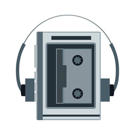 nineties: Audio cassette player. Retro music gadget from 21-st century. Old musical device vector illustration. Tape stereo recorder with headphones and radio Illustration