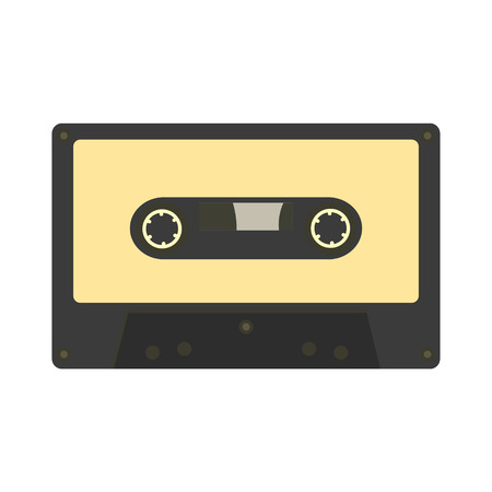 nineties: Audio cassette icon. Retro music gadget from 21-st century. Old musical device vector illustration. Stereo player tape Illustration