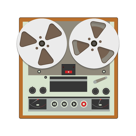 electronic 80s: Reel-to-reel recorder with cassete tape cartridges. Retro music gadget from 21-st century. Old spool musical device icon. Vector illustration Illustration