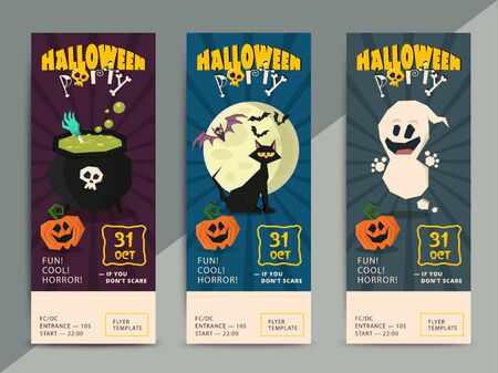 hallow: Happy Halloween party flyer template design. All hallow eve poster in scary cartoon style. All saint holiday club event admission or entrance ticket layout. Vector illustration