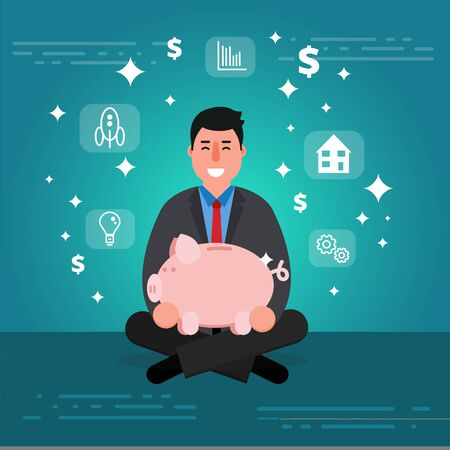 bank manager: Successful young businessman or broker meditating or relaxing with his legs crossed and holding piggy bank. Cartoon vector illustration of manager or boss as concept of financial success. Smiling entrepreneur image