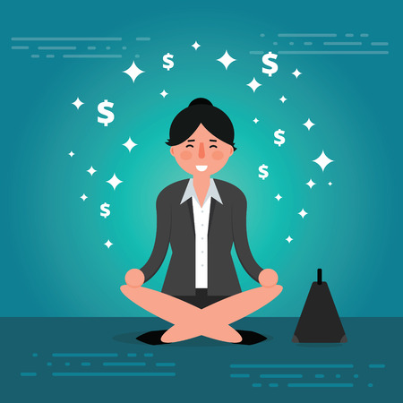 broker: Successful young business woman or broker meditating or relaxing with his legs crossed. Cartoon vector illustration of manager or boss doing yoga in lotus pose as concept of corporate thinking. Business lady meditation image