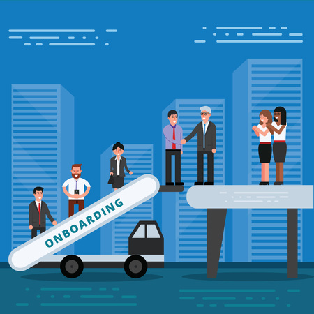 Employees onboarding concept. HR managers hiring new workers for job. Recruiting staff or personnel in their business company. Organizational socialization vector illustration