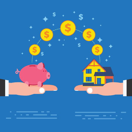 housing estate: Real estate investment or housing construction payment. Buying new house metaphor with piggy bank on hand. Business concept vector illustration Illustration
