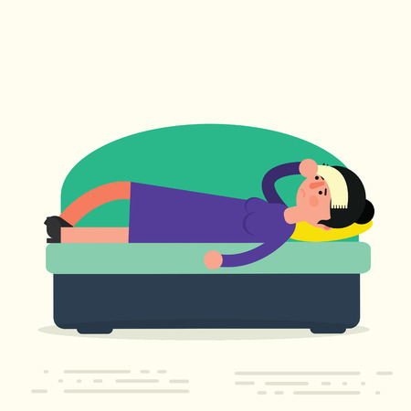 laid: Young adult woman lying on sofa with sickness. Sick female resting or laid up on couch. Illness or desease vector illustration. Girl suffering headache at home in apartment