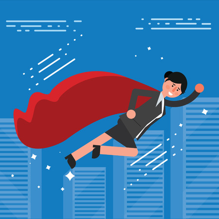 businesswoman suit: Successful businesswoman or broker in suit and red cape flying on city skyline background. Vector illustration of business lady superhero as concept of success or leadership symbol