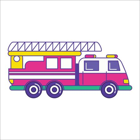 conflagration: Fire truck icon in trendy flat line style. Bright firefighting vehicle symbol. Fire engine symbol. Vector illustration