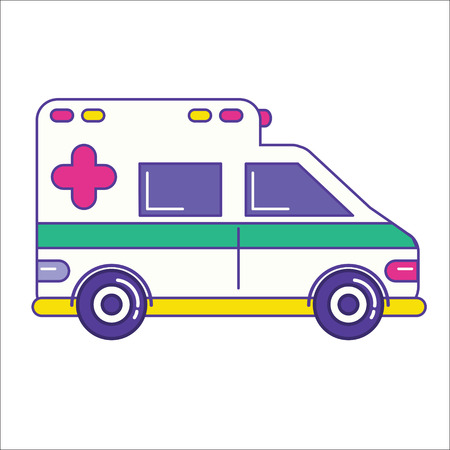 Ambulance car icon in trendy flat line style. Emergency service vehicle symbol. Vector illustration Illustration