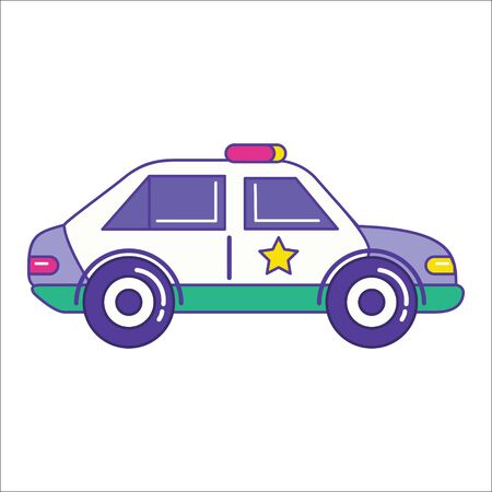 patrol: Police car icon in trendy flat line style. Patrol vehicle symbol. Automobile vector illustration
