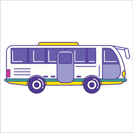 autobus: City bus icon in trendy cartoon flat line style. Mass transit vehicle symbol. Autobus as public transportation element. Vector illustration