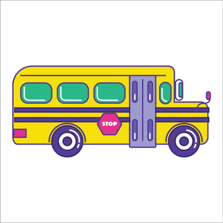 autobus: School bus icon in trendy cartoon flat line style. Mass transit vehicle for schoolkids symbol. Autobus for schoolchildren as public transportation element. Student transport vector illustration Illustration