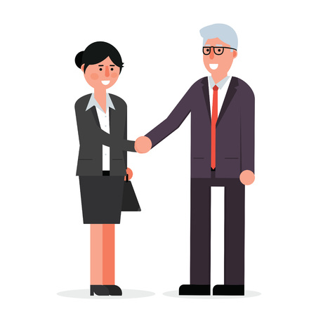 Young employee and senior businessman shaking hands and smiling. Boss and manager agreement for cooperation. Handshake vector illustration. Illustration
