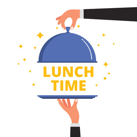 lunch tray: Waiter hands opening cloche lid cover revealing Lunch Time text on a tray. Flat style vector illustration