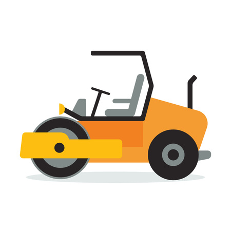 blacktop: Asphalt compactor flat icon design. Wheeled road paver symbol. Construction machinery vehicle sign. Vector illustration