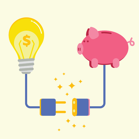 Piggy bank and lamp with electric plug socket. Commercial project or startup funding, donation, investment concept. Successful business idea financing image. Flat style vector illustration.