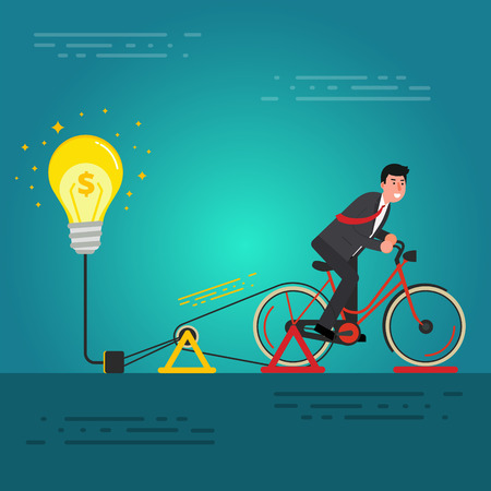 Młody biznesmen lub broker jazdy na rowerze na dynamo generator z żarówką. Burza mózgów, narodziny idei koncepcji startowej. Obraz innowacji biznesowych. Ilustracji wektorowych Ilustracje wektorowe