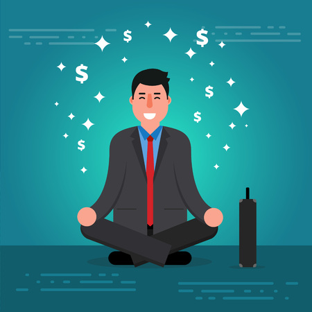 Successful young businessman or broker meditating or relaxing with his legs crossed. Cartoon vector illustration of manager or boss doing yoga in lotus pose as concept of business thinking. Entrepreneur meditation image