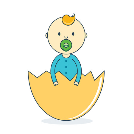 bambino: Baby boy in eggshell with pacifier. Newborn human male in hatch vector illustration. Offspring or toddler in nutshell. Birth of child or infant cartoon image in flat line style.