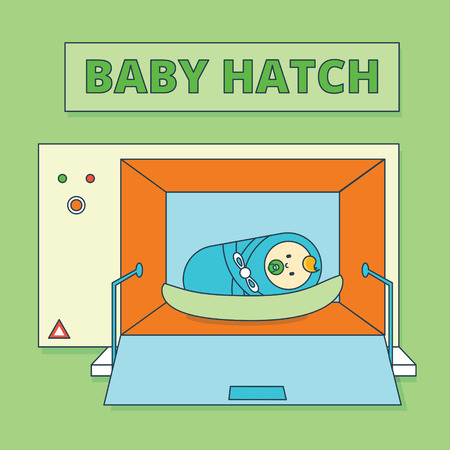 bambino: Baby hatch or baby box. Abandoned newborn boy or human male offspring vector illustration. Cartoon infant child or toddler in special camera. Foundling wheel image in flat line style.