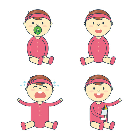 Cartoon baby girl emotion set. Newborn child or infant emoticon. Offspring or toddler with pacifier and milk bottle sitting, smiling, crying, laughing and puzzled. Flat vector illustration