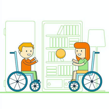 immobility: Cheerful wheelchair user boy and girl throwing ball. Happy smiling disabled toddlers playing game. Physically challenged children or kids lifestyle portrait.Trendy cartoon line style vector illustration. Illustration
