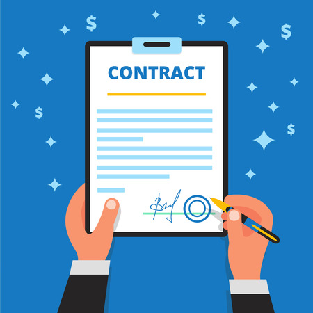 official: Businessman hands holding pen, checking and signing up employment or project contract paper. Signature of official document Illustration