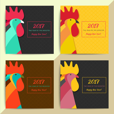 greeting: Chinese horoscope Rooster symbol. Creative new year 2017 sign best for calendars, greeting cards, posters, banners, flyers, etc. Zodiac vector background illustration design