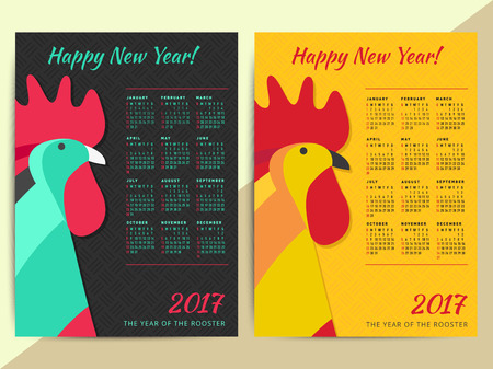 happy new year banner: Chinese horoscope Rooster symbol. Creative 2017 calendar grid. Happy new year zodiac vector background illustration design