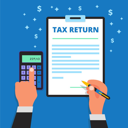 declare: Businessman hands holding pen, calculating and filling out income tax return form. Man files a refund document. Submitting of declaration document. Taxpayer vector illustration Illustration