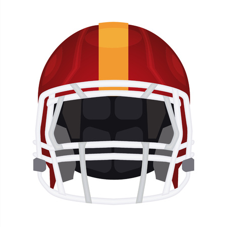 head protection: American football helmet icon. Rugby head protection helm with pad, facemask and flex shell. Sport equipment vector illustration