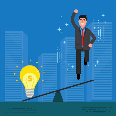 Young businessman or broker jumping after overweighting by light bulb. Startup or business idea concept. Innovation, creative mind and perspective discovery image. Vector illustration