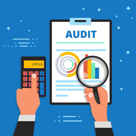 Audit, bookkeeping and financial analysis vector illustration. Finance and business analytics, accounting or appraisal service web banner.