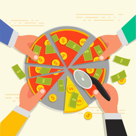 company ownership: Business shareholder concept in flat style. Vector illustation of businessman stockholder cutting off money pizza. Investment or share in company