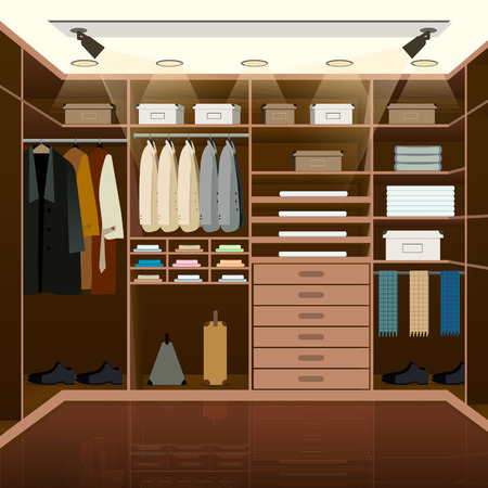 Mens dressing room design. Indoor domestic changing or waiting room for wardrobe keeping. Clothes and shoes on hangers. Furniture vector illustration.