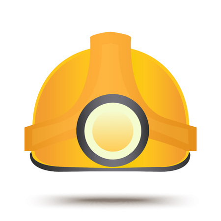 Construction safety helmet. Flat icon design. Industrial equipment symbol. Protection helm sign. Miner headgear vector illustration Illustration