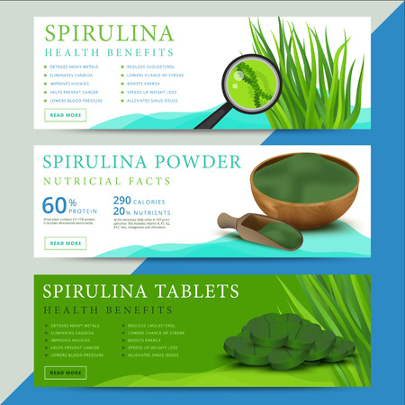 dietary: Set of spirulina algae information website or social media banners. Arthrospira seaweed dietary supplement background templates. Superfood vector illustration