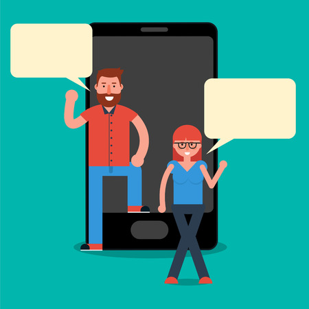 Man and woman millennials texting or chatting via messenger mobile app on smartphone. Young friends conversation over cell phone. Vector illustration in flat style Illustration